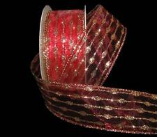 10 Yards Red Gold Glitter Dotted Stripes Striped Christmas Sheer Wired Ribbon 1