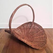Large Wicker Basket Flat Oval Hand Woven Rattan Herb Flower Gathering farmhouse