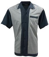 Rockabilly Fashions Men's Shirt Retro Vintage Bowling 1950 1960 Grey White S-3XL