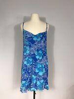 Aloha Hut Hawaii Blue and White Floral Print Ruffle Hem Mini Dress Women's L