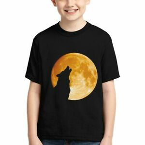 Wolf Unique Moon Youth T-shirt Boy Summer Casual Short-Sleeved Tee Tops Custom