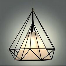 Modern Diamond Metal Cage Minimalist Polygon Pendant Light Hanging Ceiling Lamp