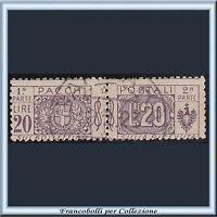 1914 Italia Regno Pacchi Postali Nodo Sabaudo L. 20 violetto bruno n. 19 Usato