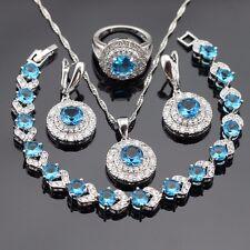 Beautiful BLUE SAPPHIRE TOPAZ 925 SterlingSilver Necklace Earrings Ring Set SZE