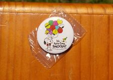 """Snoopy It's Party Time Peanuts 65th Anniversary 1 3/4"""" Lapel Pin Pinback Button"""