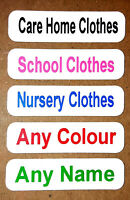 10 Printed Iron On Name Labels Personalised Black Pink Blue ,Care Home ,Tags