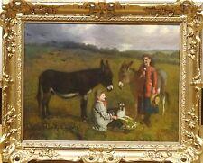 Fine 19th Century English Children Dog & Donkeys Landscape Antique Oil Painting