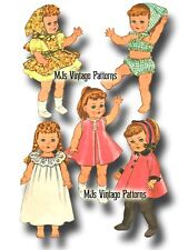 "Vtg 60s Toddler Little Girl Doll Clothing Pattern ~ 14"" 15"" Ruthie, Patsy"