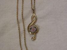 ...Gold Tone,Porcelain Flower Cameo Music Clef Pendant Necklace...