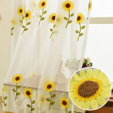 Sunflower Embroidery Curtain Panel Yarn Sheer Window Balcony Room Divider Tulle