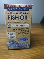 Wiley's Finest Wild Alaskan Fish Oil with Vitamin K2, 60 Softgels Exp 8/22