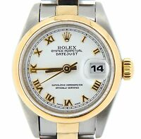 Rolex Datejust Lady Two-Tone 18K Yellow Gold Steel Watch White Roman Dial 69163