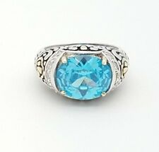Bali Design Sterling Silver 925 Oval Blue Topaz & Cubic Zirconia Ring Size 7