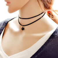 Fashion Womens Korea Style Leather Beads Chocker Pendant Necklace Jewelry Gift