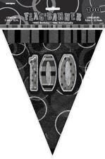 100th Black Glitz Bunting - 12ft Long - Plastic Party Pennants Flag Banner