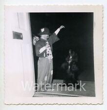 1950s snapshot photo Young Boy in Hobo Halloween costume with dog