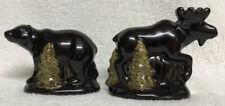 Home Studio WOODLAND Collection Moose Bear Salt & Pepper Shakers RARE FIND
