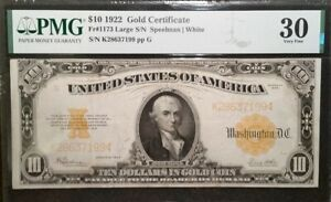 1922 $10 Gold Certificate Fr 1173 Speelman White Large Serial Number PMG VF30