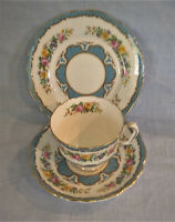 Crown Staffordshire Bone China England Teacup, Saucer & Plate Blue Tunis Gilded