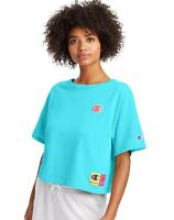 NWT Champion Chenille C Logo Pop Color Crop Tee Bright Blue Size S