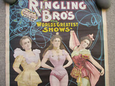 Ringling Brothers Circus Poster Aerial Acrobats Women Show Vintage