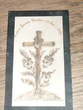 1897 faire-part de décès carte mortuaire beau travail de collage en relief croix