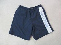 VINTAGE Nautica Swim Trunks Adult Medium Blue White Spell Out Bathing Suit 90s
