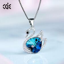 Schwan Halskette Herz mit SWAROVSKI® Kristallen Swan Collier Silber 18K Weißgold