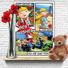 EXTRA LARGE Bob The Builder **Personalised A4 Birthday Card** Dad Son Grandson
