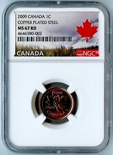 2009 NGC MS67 RD COPPER PLATED STEEL ONE CENT 1C! ONLY 33 COINS HIGHER AT MS68!!