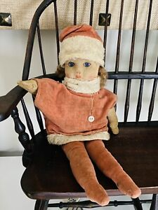 Vintage Chad Valley Doll Cloth Felt British Hygienic Toys Red Santa Outfit