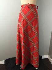 Vintage 1960s Double Knit Gold Orange Maxi Skirt Plaid Long Aline Retro Sz 12