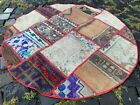 Circle Patchwork Area, Wool rug, Turkish rug, Vintage, Handmade | 3,4 ft