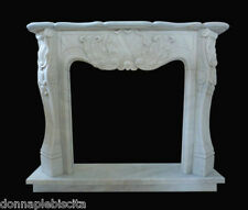 Cornice Caminetto Camino in Marmo Bianco Carrara Marble Fireplace Frame Luigi XV