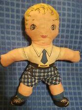 Antique Cloth Doll - Blonde Boy Blue Eyes - no holes or rips, non smoker