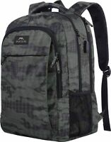 "Matein Men's Camo Gray & Black 15.6"" Travel Laptop Backpack School Bag USB Port"