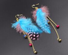 Feather Earrings Chain Leaf Dangle Eardrop Fashion Handmade Jewelry fashion