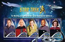 Liberia - Star Trek 50th Anniversary- Captains, Sheet of 5 Stamps, 2016 MNH