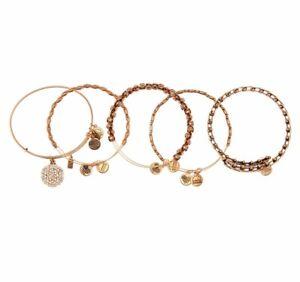 Alex and Ani Snowflake Expandable Bangle Bracelet Set Gold NEW $200