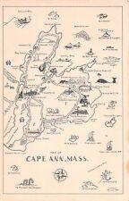 Map postcard Cape Ann Massachusetts