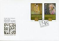 Liechtenstein 2018 FDC Gustav Klimt 100th Memorial The Kiss 2v Cover Art Stamps