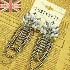 "4""long Big Chain Chandelier Earrings Vintage Gold Fashion Forever 21 Rhinestone"