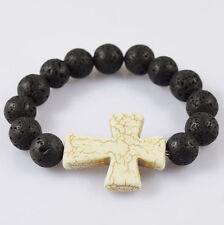 Men's Bracelet 12mm Volcanic Lava Stone Beaded Turquoise Jesus Cross Gift Party