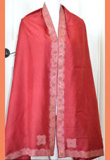 Silk Vintage Red Color Heavy Embroidered Long Stole, Wrap, Dupatta, Veil