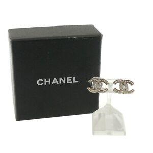 Authentic CHANEL CC Logo Earrings Silver Metallic A14 #f02440
