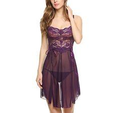 Sexy Women SummerFlower Lace Lingerie Bowknot Mesh Nightdress Camisole Sleepwear