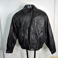 HUNT CLUB Soft Lambskin LEATHER JACKET Mens Size L Black insulated