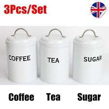 VINTAGE Kitchen Storage Canister Set TEA COFFEE SUGAR Jar Set CREAM WHITE BLACK