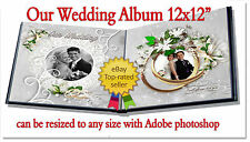 "Photoshop Wedding Digital Photo Album Templates PSD 12x12"" Our Wedding"