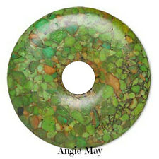 Mosaic Green Turquoise Donut Pendant Focal Bead 45mm
